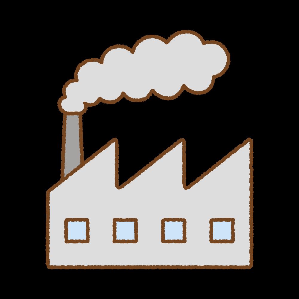 汚れた煙を出す工場のフリーイラスト Clip art of dirty smoke factory