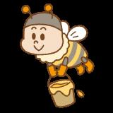 ミツバチのキャラクターのフリーイラスト Clip art of honeybee-character