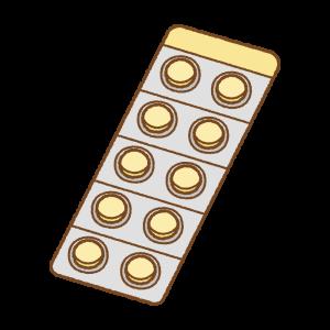 錠剤のシートのフリーイラスト Clip art of tablet-medicine
