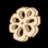 レンコンの飾り切りのフリーイラスト Clip art of renkon-kazarigiri