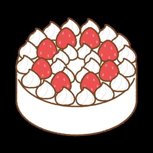 イチゴのショートケーキのイラスト(ホール)
