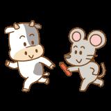 子から丑へバトンタッチのフリーイラスト Clip art of baton-pass ne-ushi