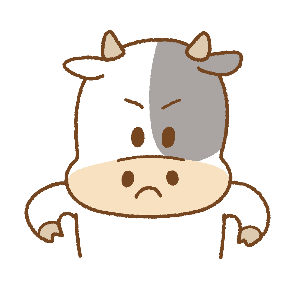 怒るウシのフリーイラスト Clip art of cow angry