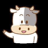 ウシのこちらへどうぞのフリーイラスト Clip art of cow kochirahedouzo