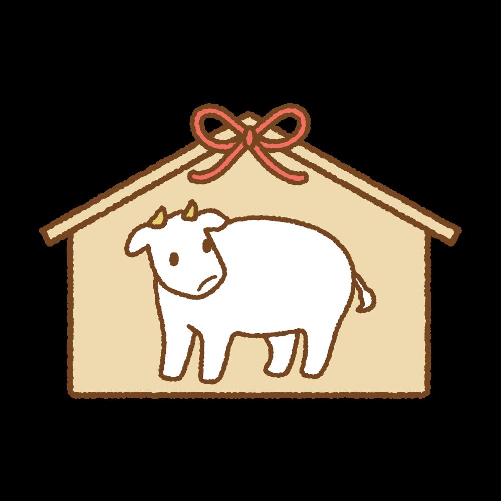 丑の絵馬のフリーイラスト Clip art of ushi-ema