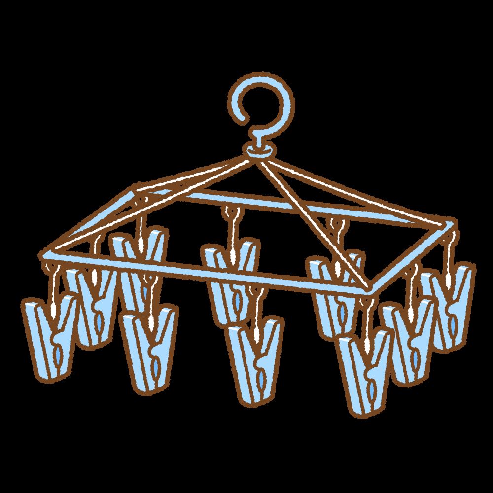 ピンチハンガーのフリーイラスト Clip art of hanging dryer