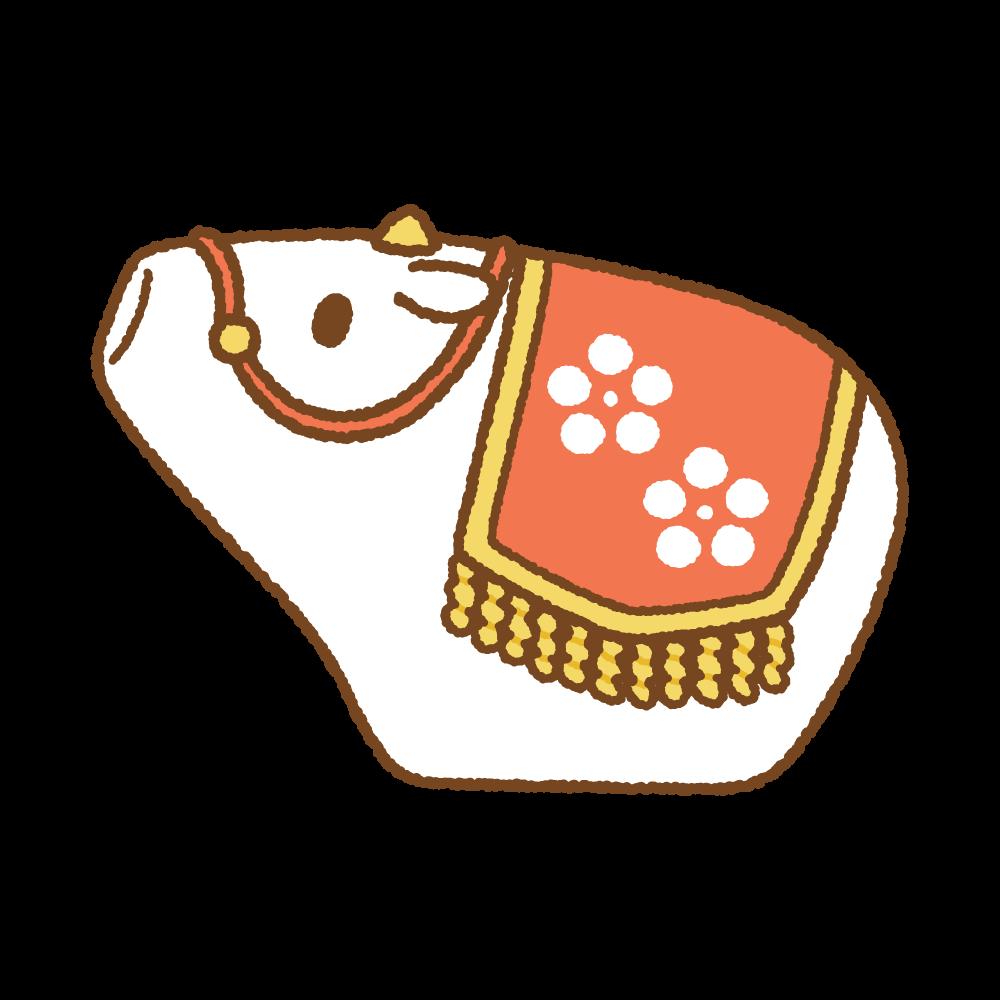 丑の置物のフリーイラスト Clip art of lucky-charm ushi