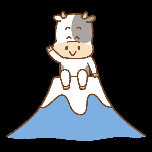 富士山の上に座る丑のイラスト