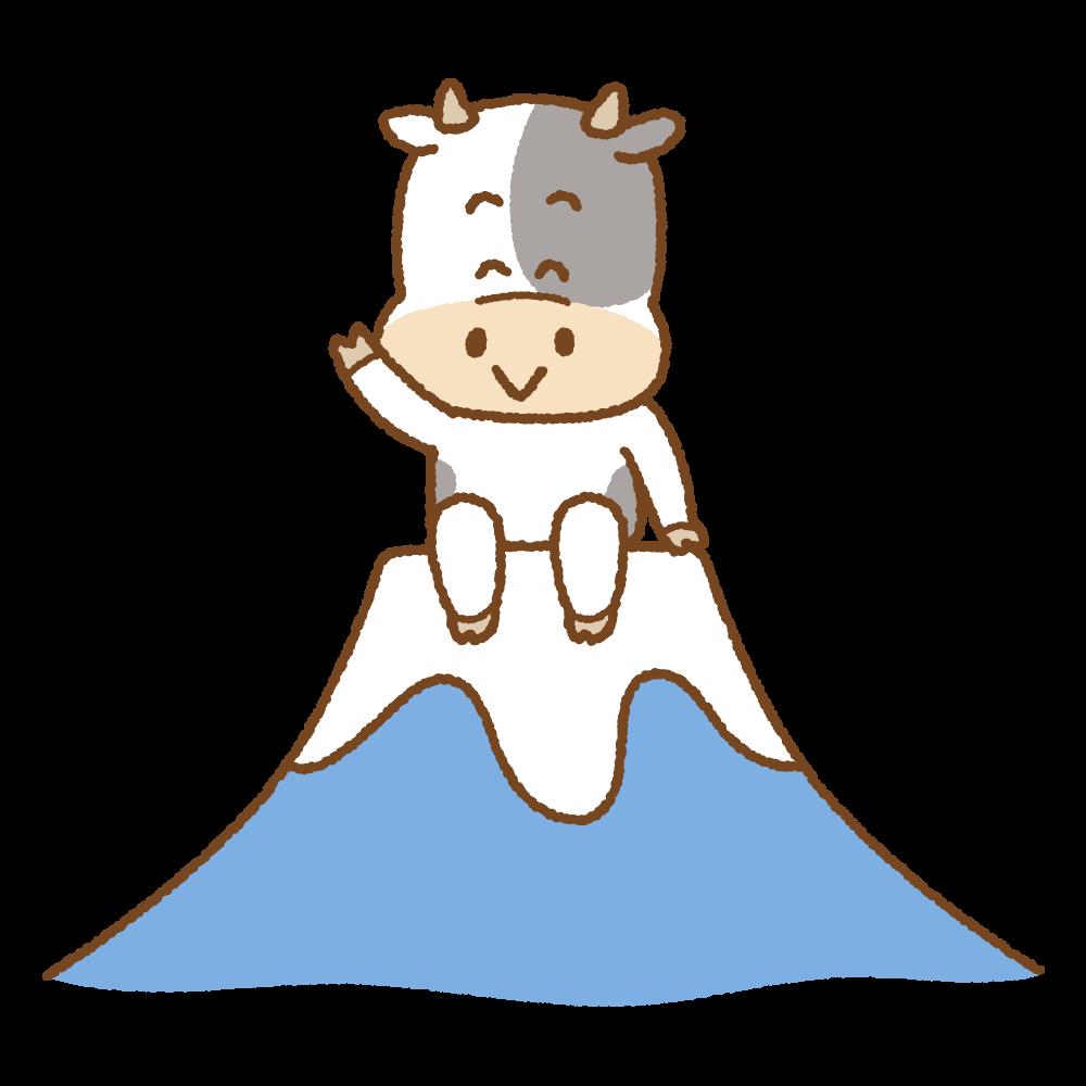 富士山の上に座る丑のフリーイラスト Clip art of cow fujisan