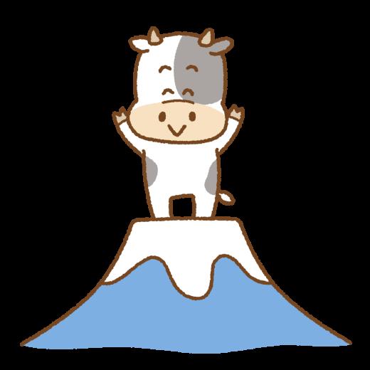 富士山の上に立つ丑のイラスト