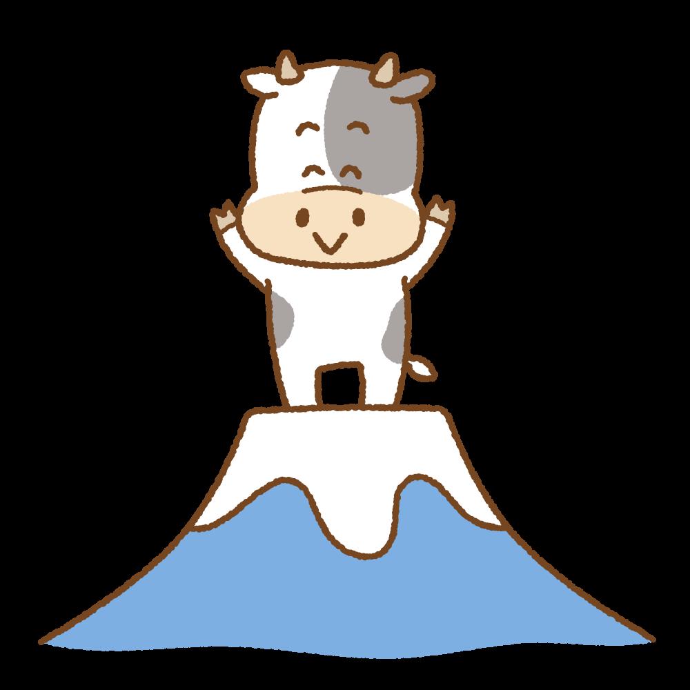 富士山の上に立つウシのフリーイラスト Clip art of cow fujisan