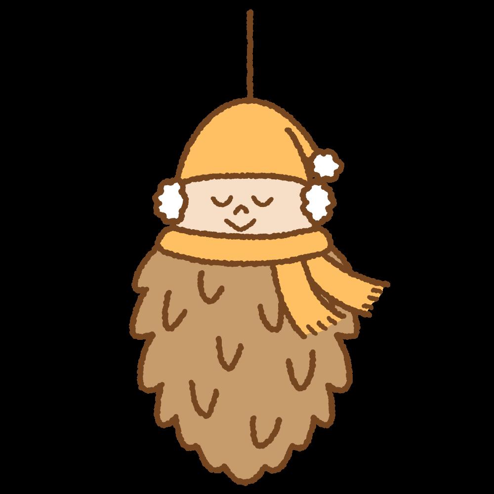 ミノムシのキャラクターのフリーイラスト Clip art of bagworm character