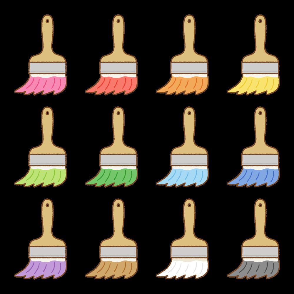 ペンキ刷毛のフリーイラスト Clip art of paint brushes