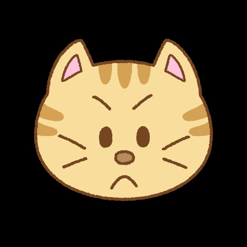 怒るネコの顔のフリーイラスト Clip art of cat angry face