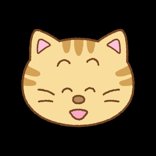 笑ったネコの顔のイラスト