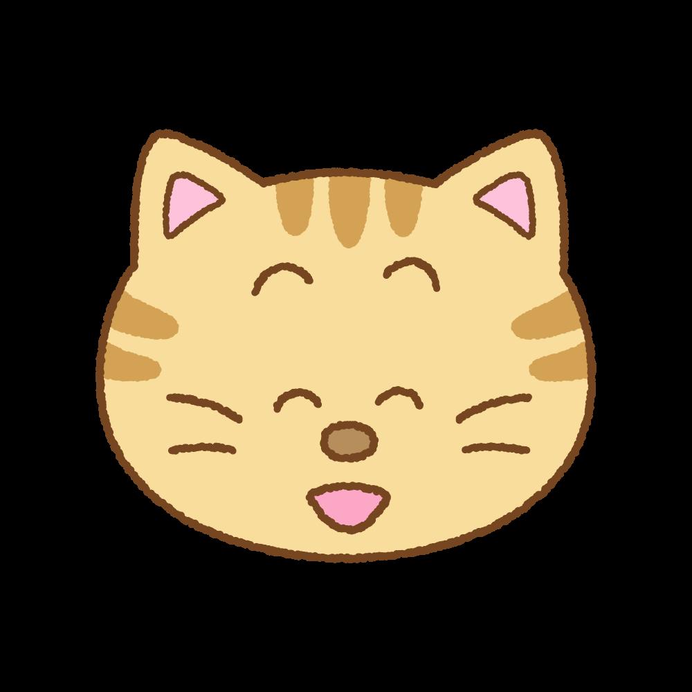 笑うネコの顔のフリーイラスト Clip art of cat angry face