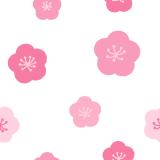 梅の花柄のパターンのフリーイラスト Clip art of japanese-plum-flower pattern