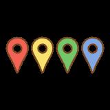 地図のピンのマークのフリーイラスト Clip art of map-pin