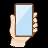 手に持ったベゼルレスのスマートフォンのフリーイラスト Clip art of bezel less smartphone