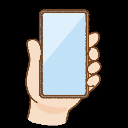 手に持ったベゼルレススマートフォンのイラスト