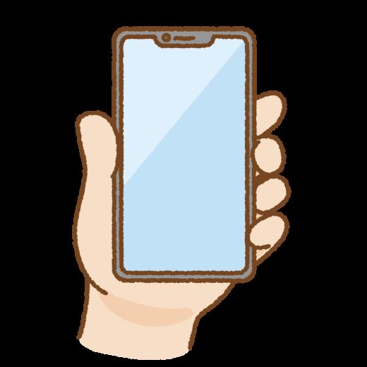 手に持ったノッチつきスマートフォンのイラスト