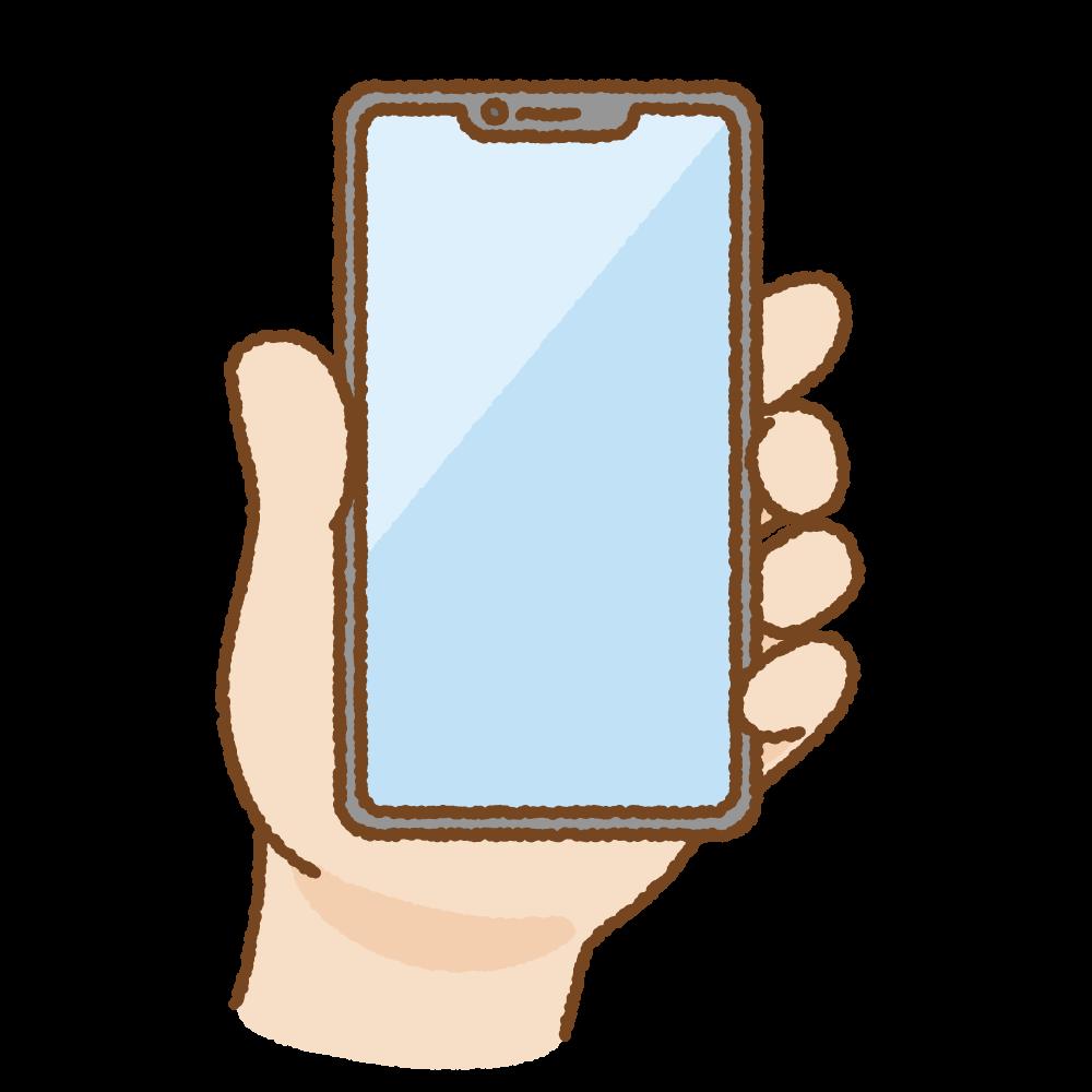 手に持ったノッチ付きスマートフォンのフリーイラスト Clip art of smartphone