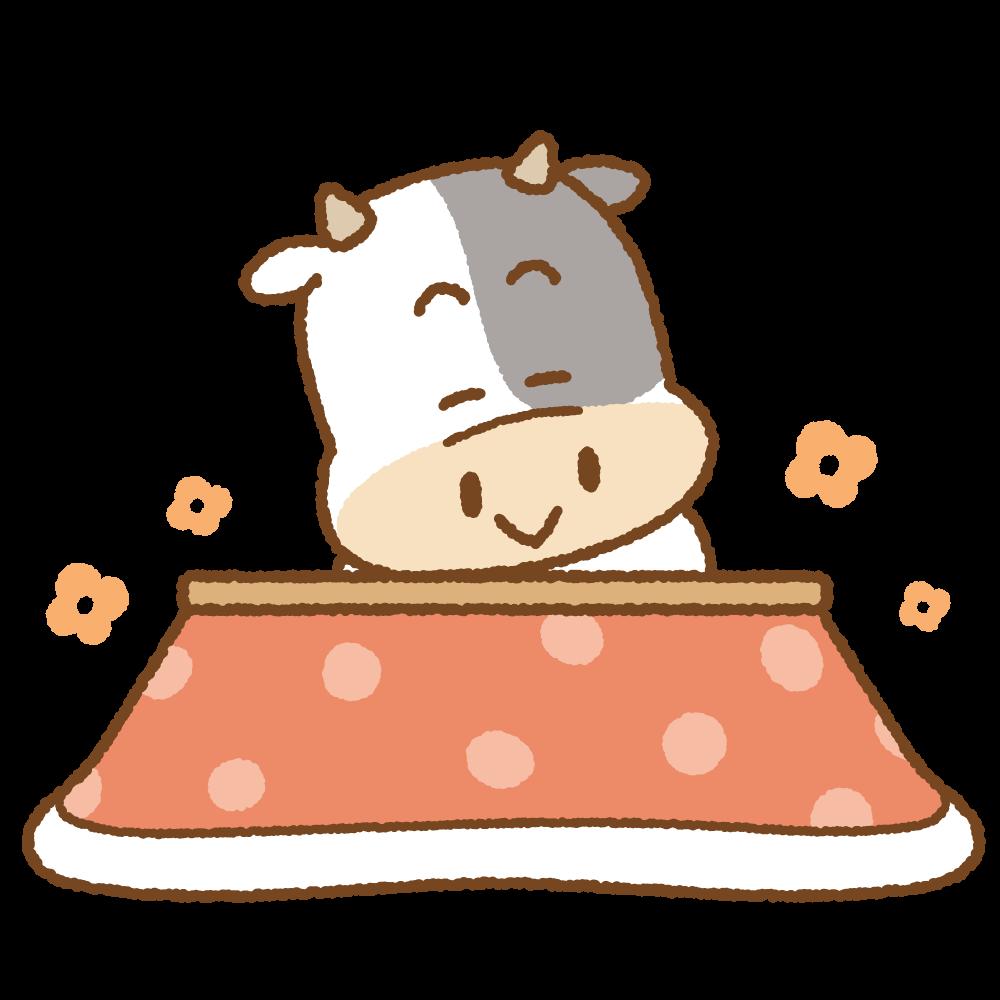 コタツに入るウシのフリーイラスト Clip art of cow-kotatsu