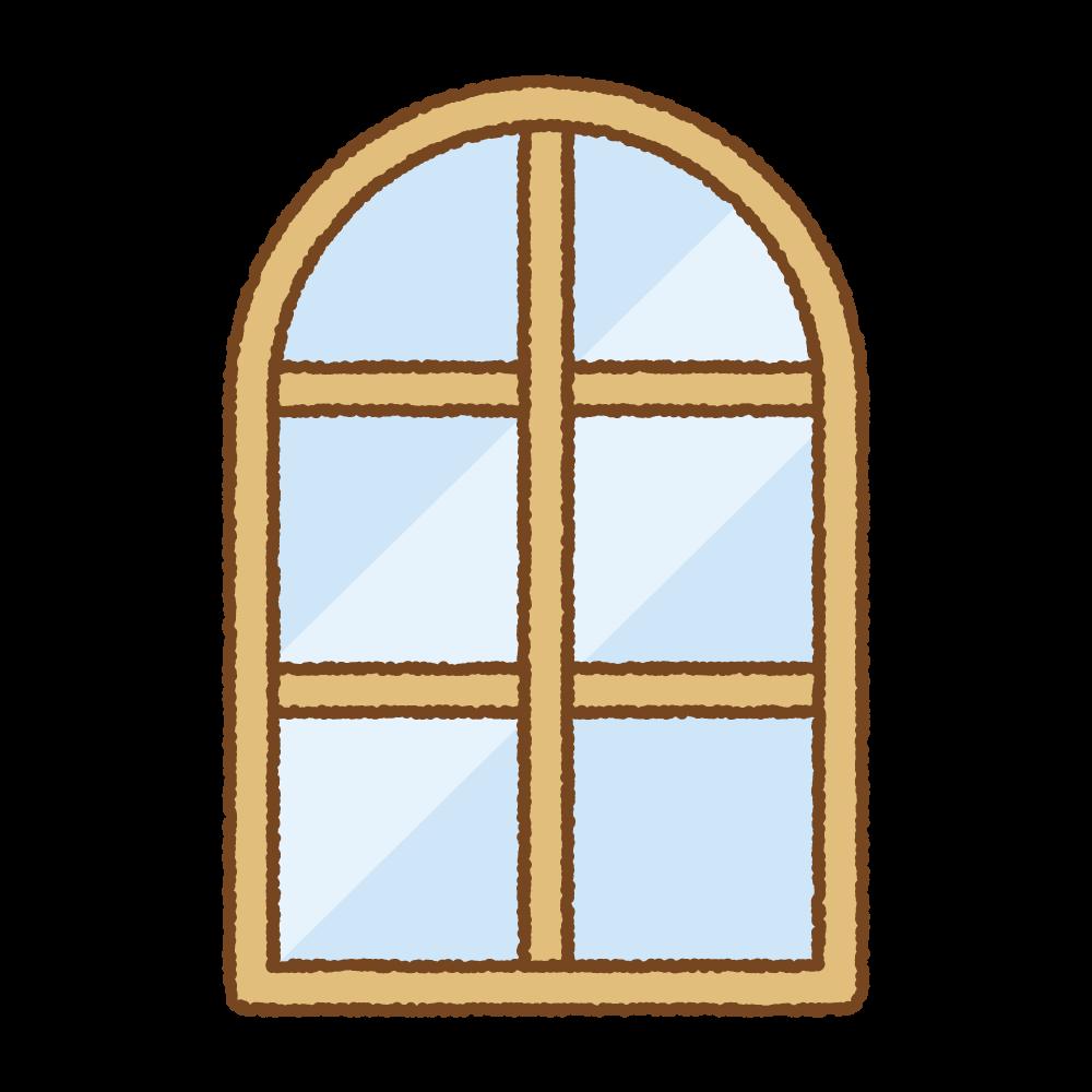 アーチ型の窓のフリーイラスト Clip art of arch-window