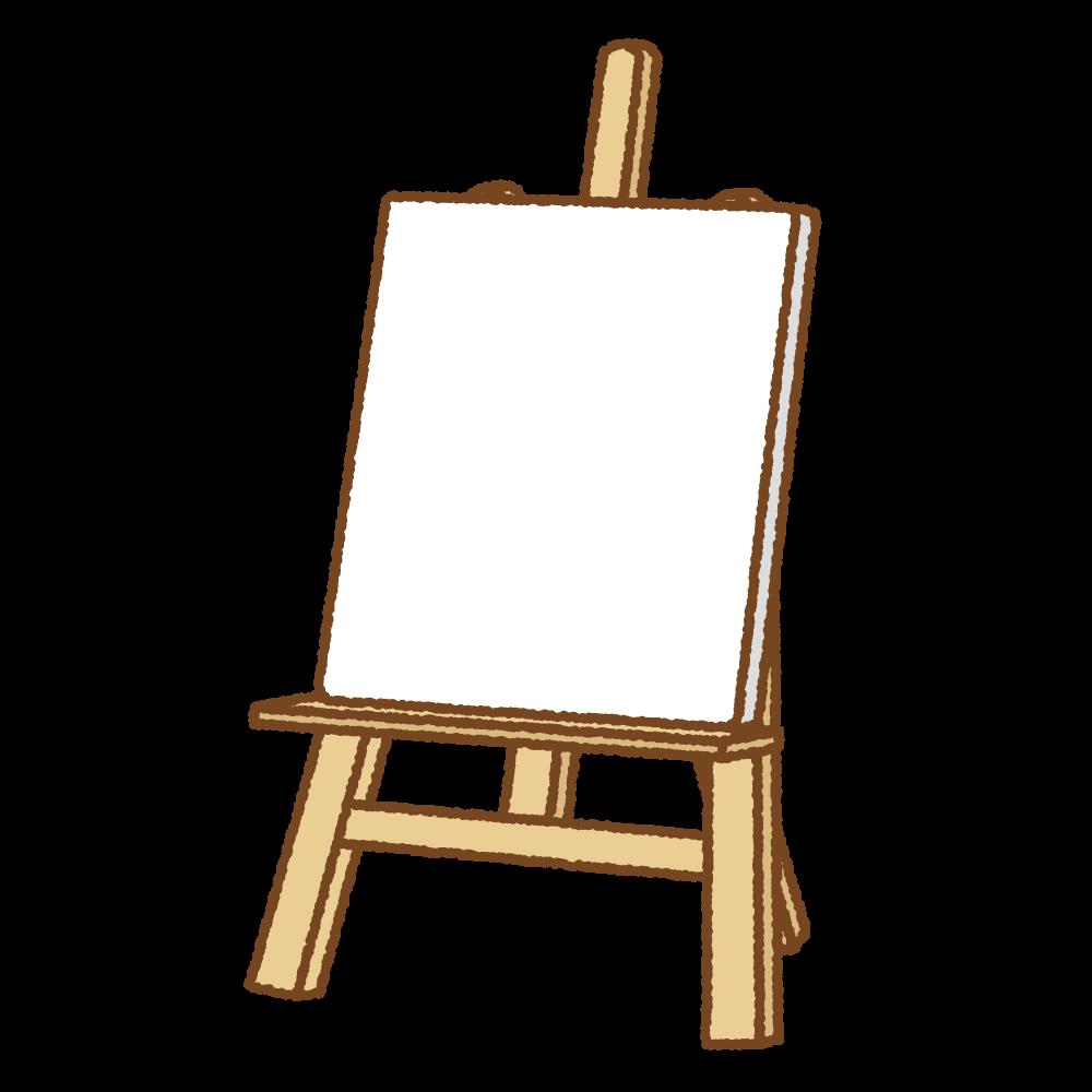 イーゼルとキャンバスのフリーイラスト Clip art of easel-canvas