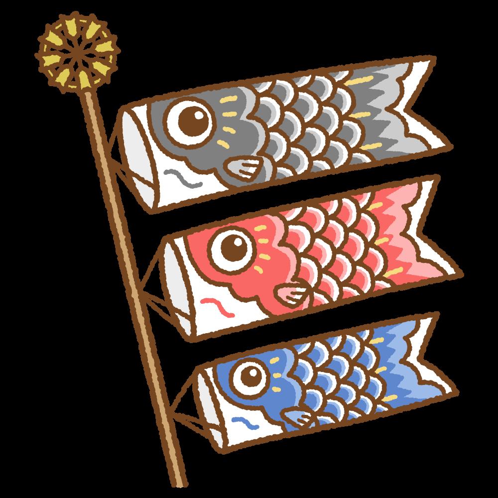 鯉のぼりのフリーイラスト Clip art of koinobori