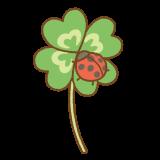 四つ葉のクローバーにテントウムシのフリーイラスト Clip art of ladybugs 4-leaves-clover