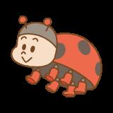 テントウムシのキャラクターのイラスト