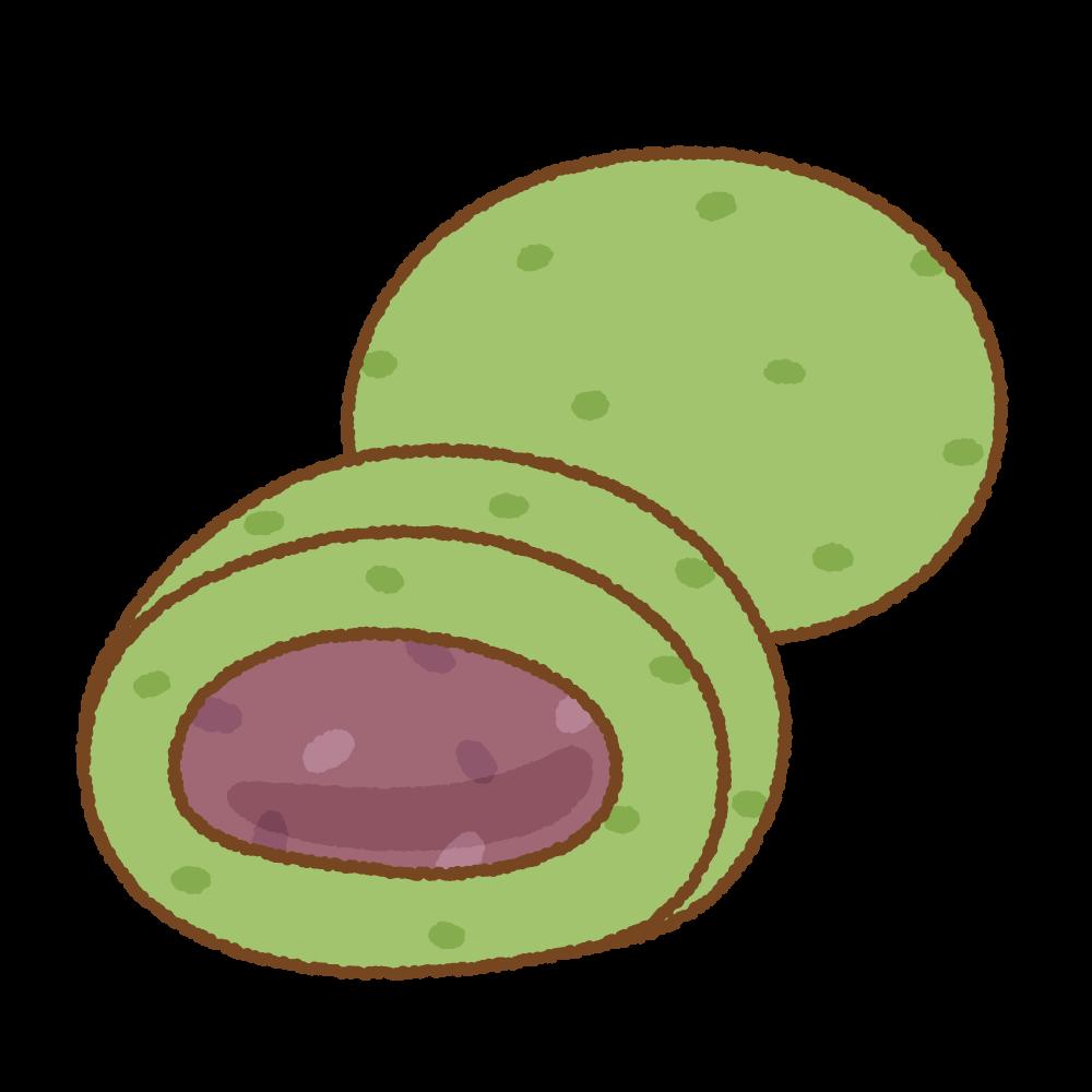よもぎ餅のフリーイラスト Clip art of yomogimochi