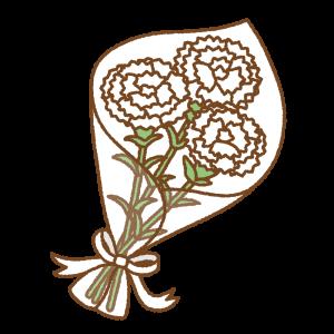 カーネーションの花束のフリーイラスト Clip art of carnation bouquet