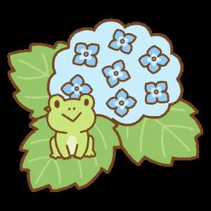 アジサイとカエルのフリーイラスト Clip art of frog & hydrangea