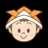 折り紙カブトをかぶった子供のフリーイラスト Clip art of kids kabuto