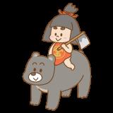 クマに乗った金太郎のフリーイラスト Clip art of kintarou kuma