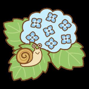 アジサイにカタツムリのフリーイラスト Clip art of snail hydrangea