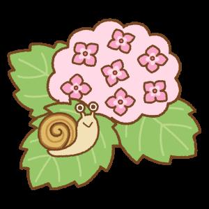 アジサイとカタツムリのフリーイラスト Clip art of snail hydrangea
