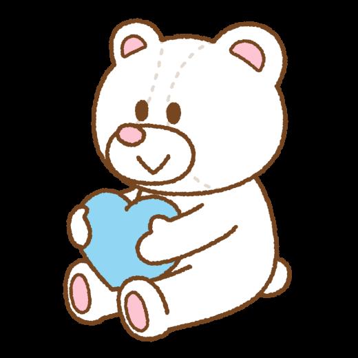 ホワイトデーのクマのぬいぐるみのイラスト