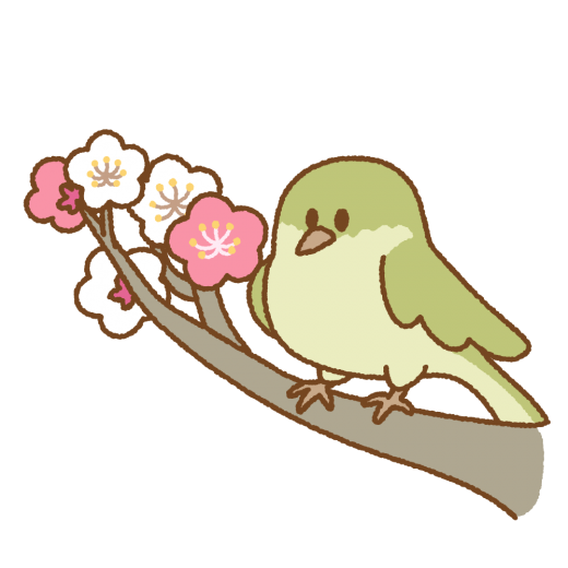 梅にウグイスのイラスト