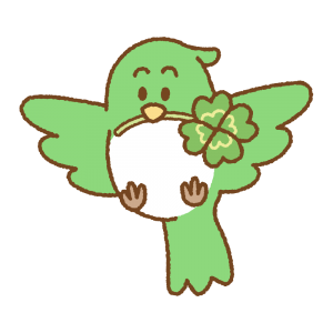 四つ葉のクローバーをくわえた鳥のフリーイラスト Clip art of flying bird 4leaves clover
