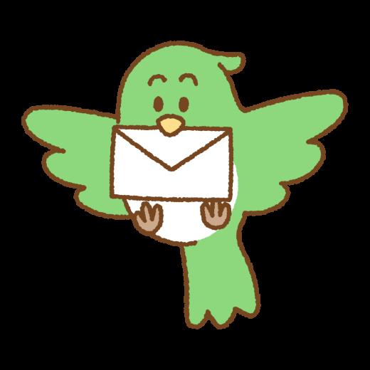 手紙をくわえた鳥のイラスト