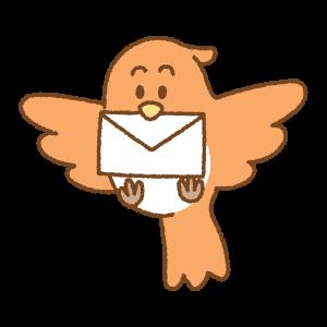 手紙をくわえた鳥のフリーイラスト Clip art of flying bird letter