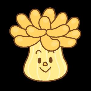 イソギンチャクのキャラクターのフリーイラスト Clip art of sea-anemone character