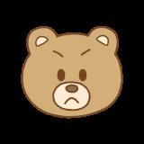 クマの怒った顔のイラスト