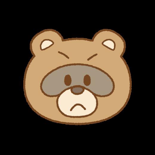 タヌキの怒り顏のイラスト