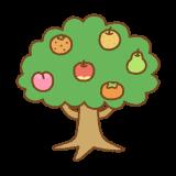 フルーツの木のフリーイラスト Clip art of fruit-tree