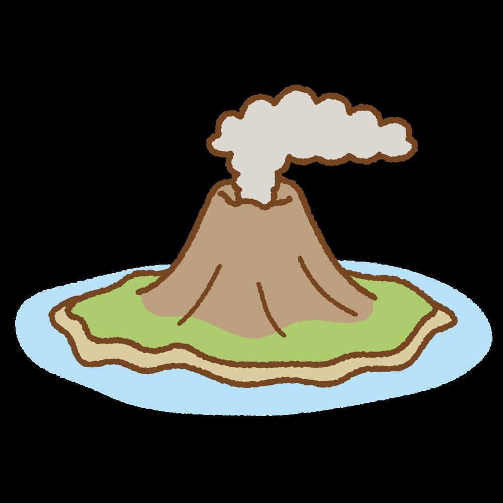 火山島のフリーイラスト Clip art of volcanic-island