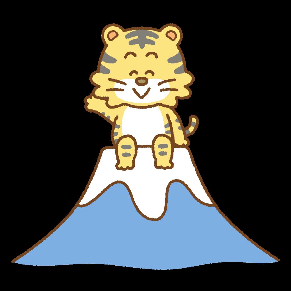 富士山の上に座るトラのフリーイラスト Clip art of tiger fujisan